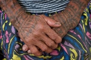 Old Women with traditional tattoos on her body Bontoc Mountain Province Rice Terraces Philippines